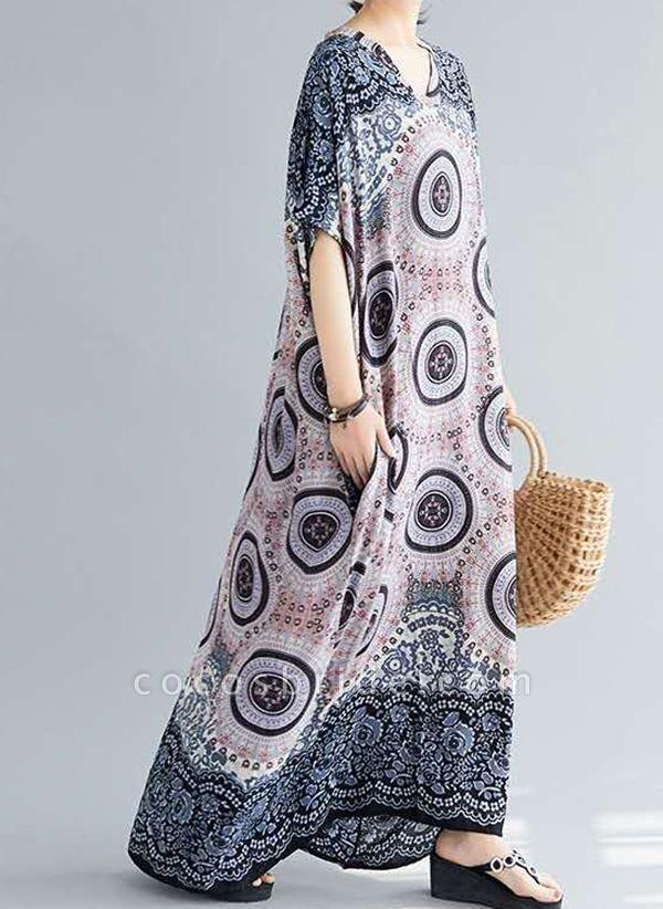 Dark Blue Plus Size Tunic Floral V-Neckline Casual Knee-Length Plus Dress