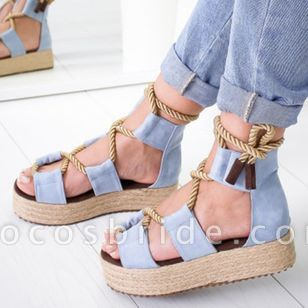 Women's Lace-up Round Toe Flat Heel Sandals Platforms
