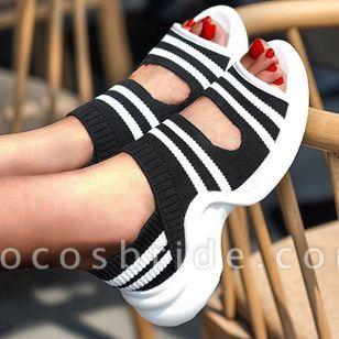 Women's Round Toe Nubuck Low Heel Sandals
