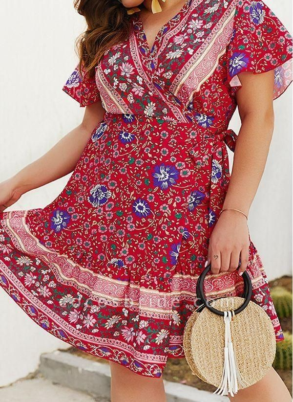 Red Plus Size Skater Floral V-Neckline Boho Sashes Plus Dress