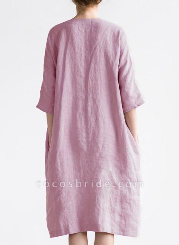 Burgundy Plus Size Solid V-Neckline Casual Midi O Dress Plus Dress
