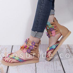 Women's Buckle Flower Flip-Flops Flat Heel Sandals