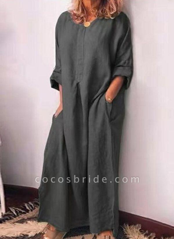 Gray Plus Size Pencil Solid V-Neckline Casual Pockets Plus Dress