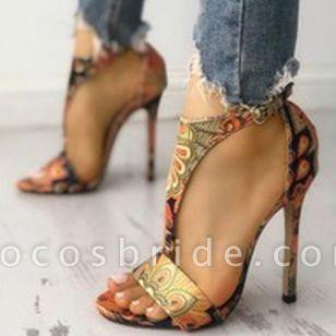 Women's Animal Print Heels Cloth Stiletto Heel Sandals