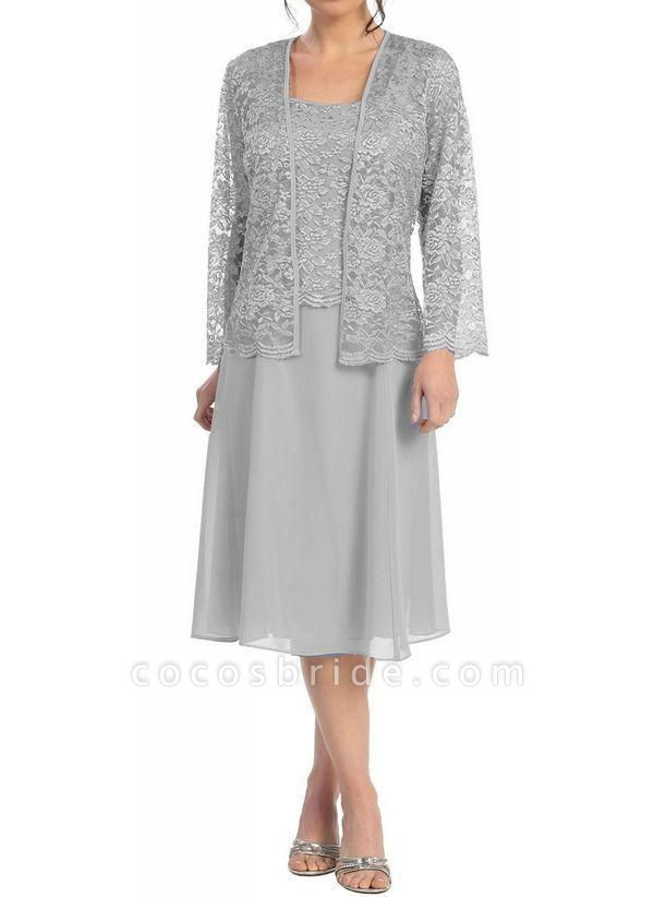 Gray Plus Size Tunic Solid Square Neckline Casual Knee-Length Plus Dress