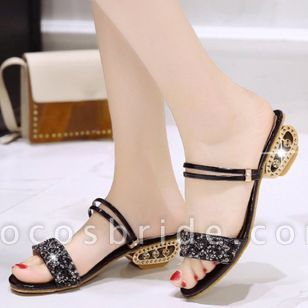 Women's Sparkling Glitter Slingbacks Low Heel Sandals