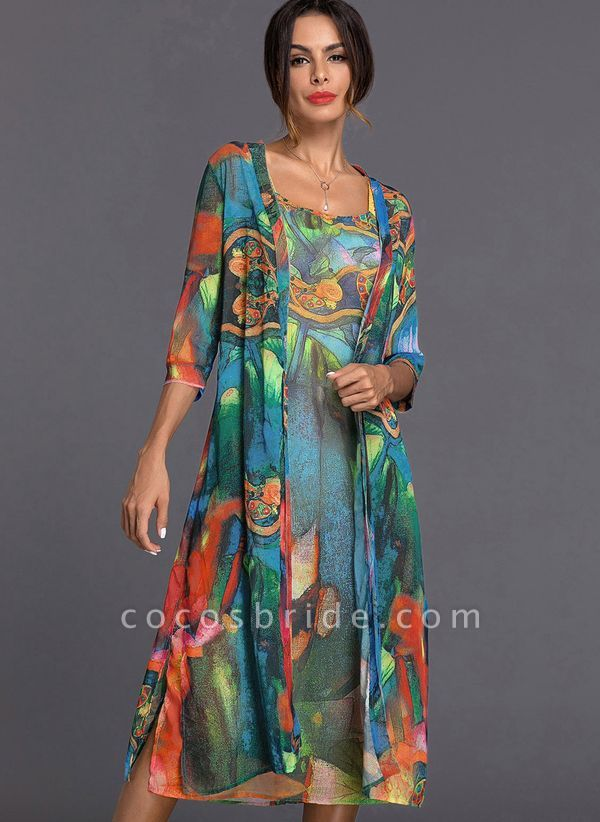 Arabian Wrap Tunic Round Neckline A-line Dress