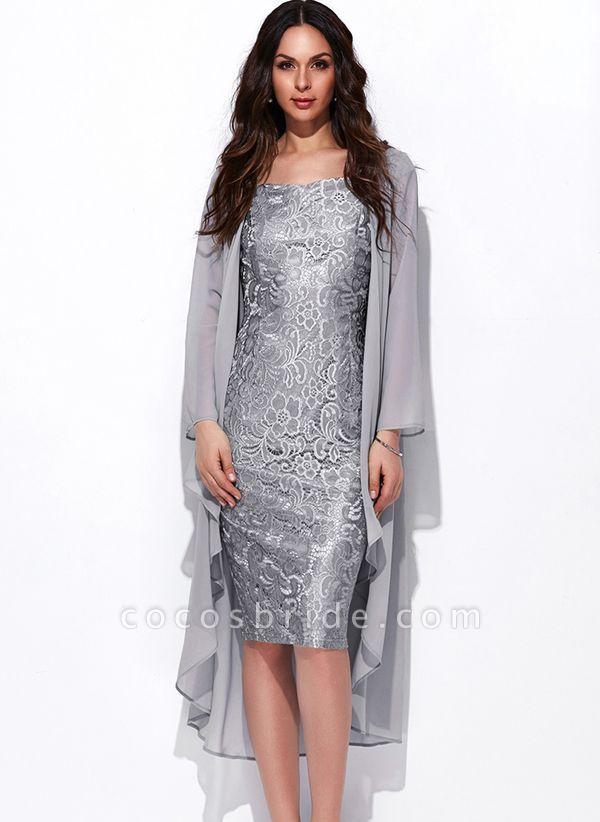 Arabian Solid Wrap Square Neckline Sheath Dress
