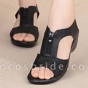 Women's Zipper Peep Toe Low Heel Sandals