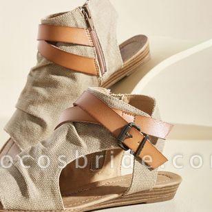 Women's Buckle Zipper High Top Flat Heel Sandals