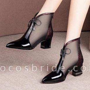 Women's Bowknot Zipper Pointed Toe Heels Fabric Chunky Heel Sandals