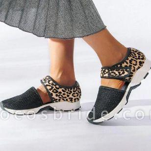 Women's Leopard Velcro Closed Toe Lace Flat Heel Sandals