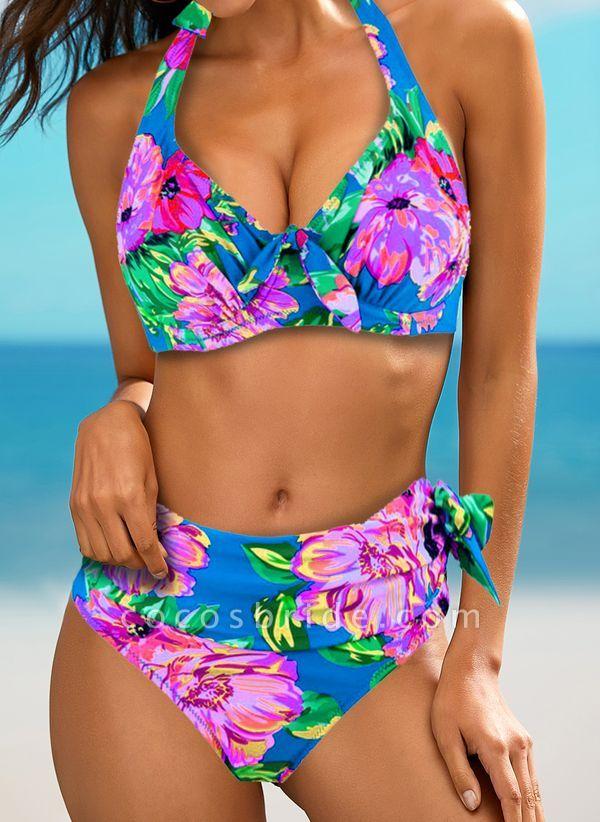 Polyester Halter Pattern Floral Bikinis Swimwear