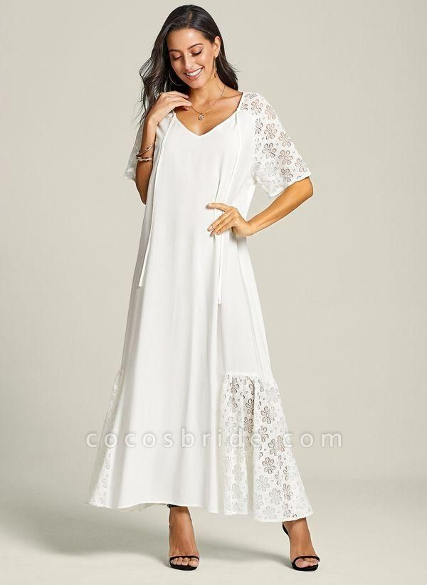White Plus Size Peasant Solid V-Neckline Casual Lace Plus Dress