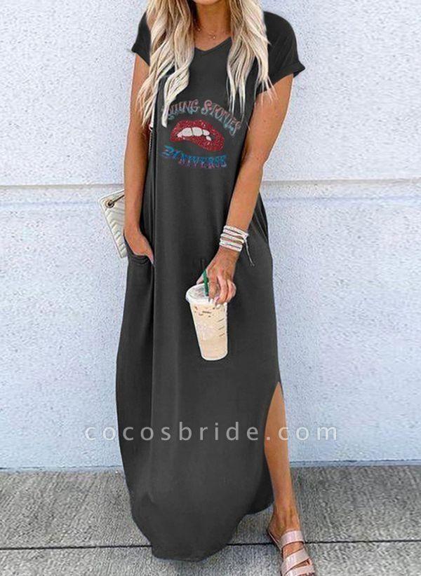 Black Casual Character Tunic V-Neckline Shift Dress