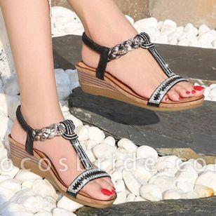Women's Rhinestone Heels Wedge Heel Sandals