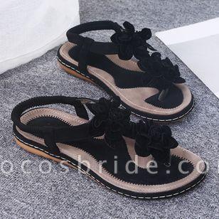 Women's Applique Flip-Flops Flat Heel Sandals