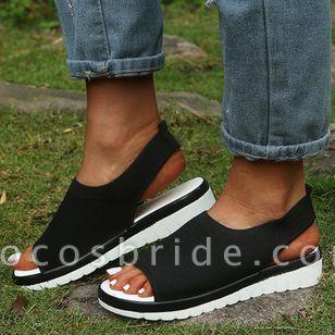 Women's Slingbacks Fabric Wedge Heel Sandals