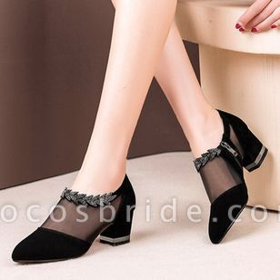 Women's Zipper Hollow-out Pointed Toe Fabric Chunky Heel Sandals