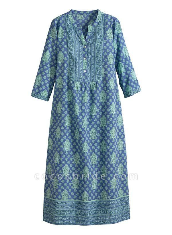 Royal Blue Plus Size Tunic Floral Round Neckline Casual Buttons Plus Dress