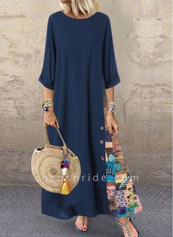 Dark Blue Plus Size Floral Round Neckline Casual Maxi A-line Dress Plus Dress