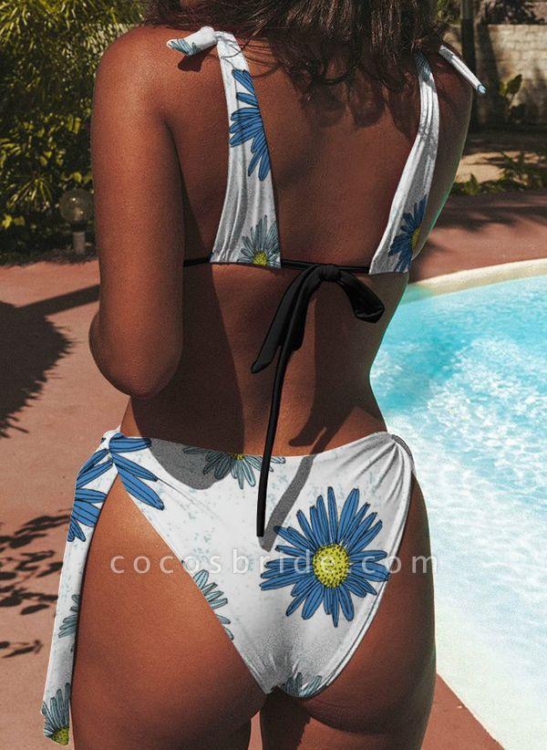 Nylon Floral Bikinis Swimwear
