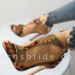 Women's Flower Ankle Strap Heels Cloth Stiletto Heel Sandals