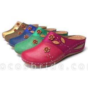 Women's Flower Closed Toe Wedge Heel Sandals