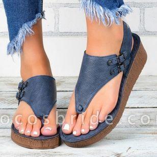 Women's Buckle Flip-Flops Cloth Wedge Heel Sandals Platforms