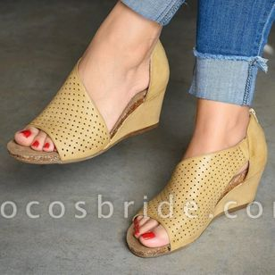 Women's Zipper Heels Wedge Heel Sandals