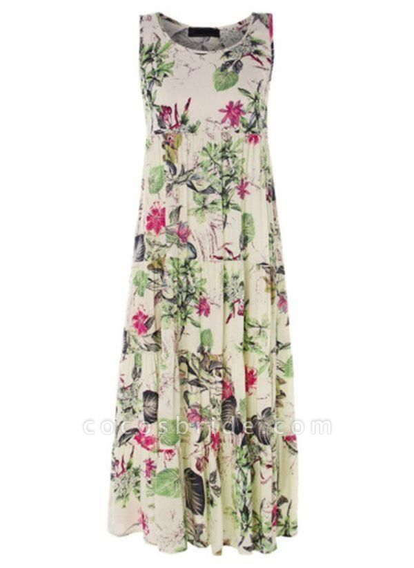 Green Plus Size Tunic Floral Round Neckline Casual Maxi Plus Dress