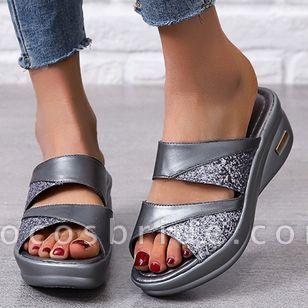 Women's Split Joint Peep Toe Wedge Heel Sandals