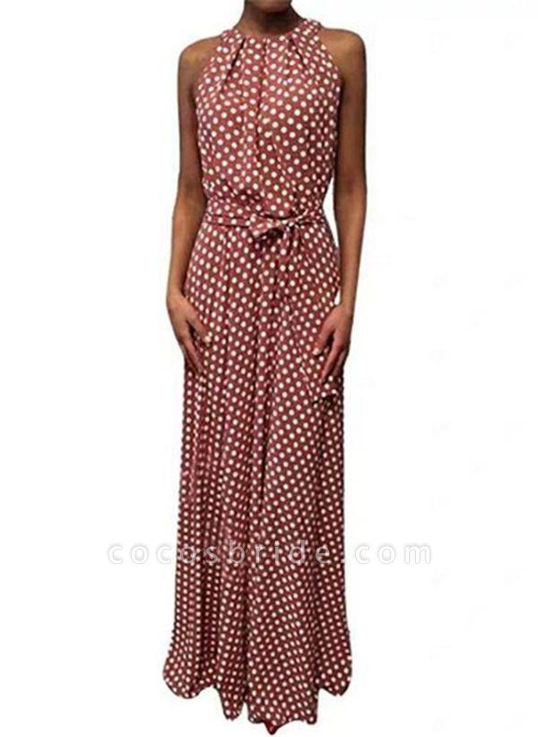 Red Casual Polka Dot Sashes Round Neckline X-line Dress
