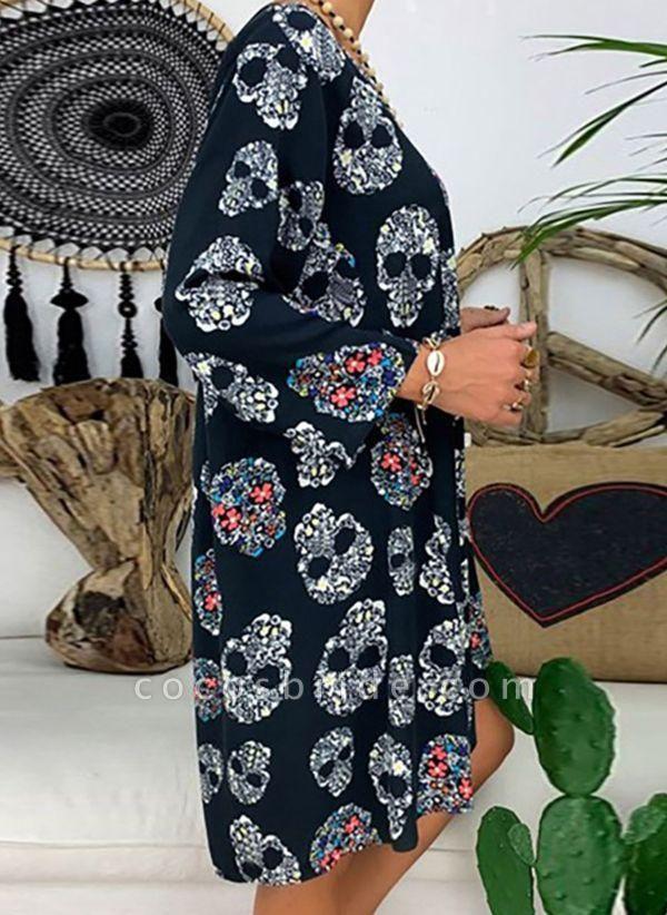 Blue Plus Size Tunic Geometric V-Neckline Casual Knee-Length Plus Dress