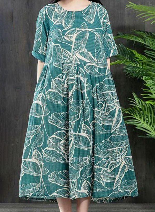 Plus Size Tunic Color Block Round Neckline Casual Midi Plus Dress