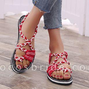 Women's Knit Toe Ring Nubuck Flat Heel Sandals
