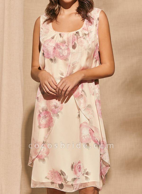 Apricot Plus Size Tunic Floral Square Neckline Basic Knee-Length Plus Dress