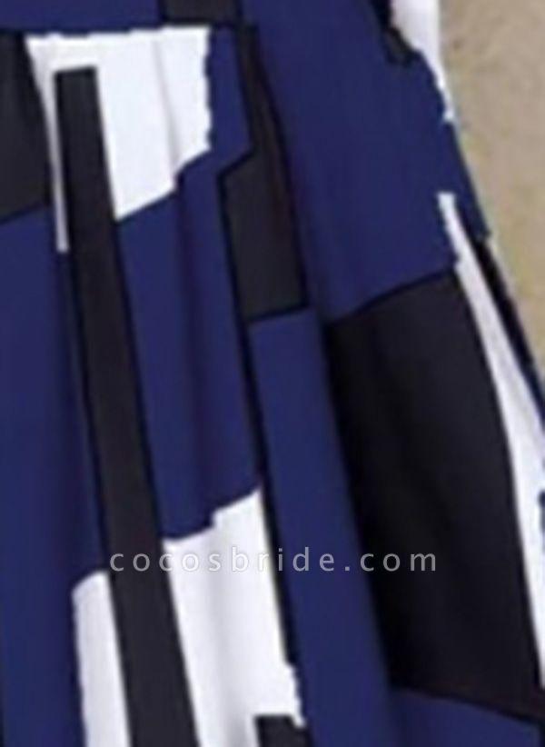 Dark Blue Plus Size Tunic Color Block Round Neckline Casual Maxi Plus Dress