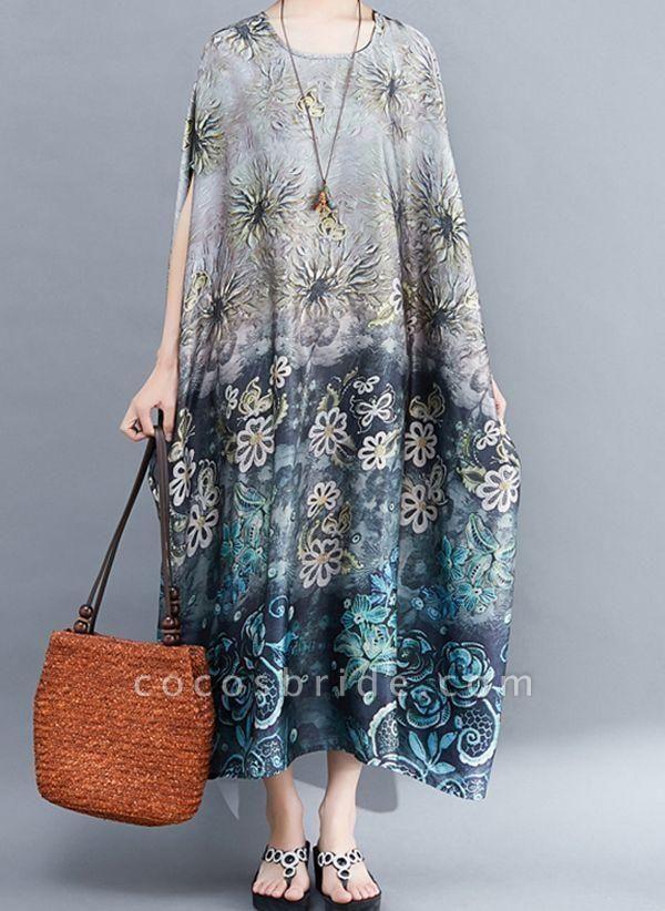 Gray Plus Size Tunic Floral Round Neckline Casual Pockets Plus Dress
