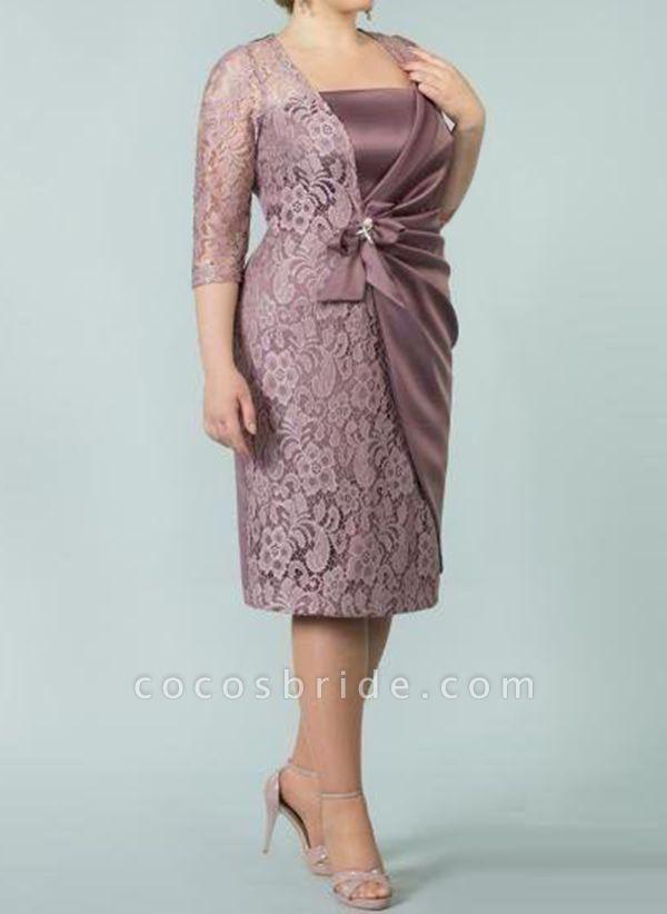 Pink Plus Size Floral Square Neckline Casual Sashes Midi Plus Dress
