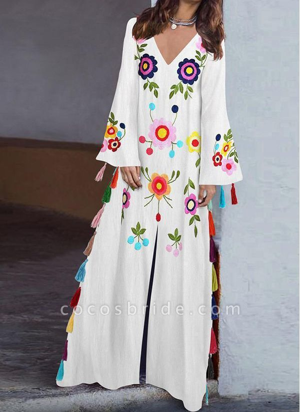 Casual Floral V-Neckline Maxi Shift Dress