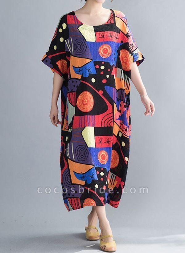 Blue Plus Size Tunic Color Block Round Neckline Casual Midi Plus Dress