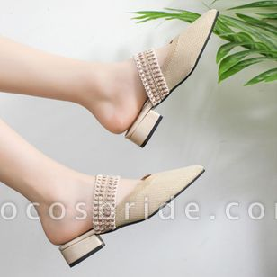 Women's Pointed Toe Slingbacks Fabric Flat Heel Sandals