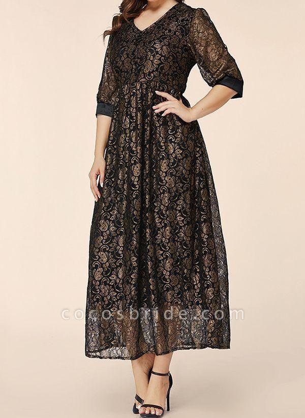 Black Plus Size Floral V-Neckline Elegant Lace Maxi Plus Dress