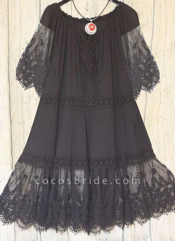 Black Plus Size Tunic Solid Round Neckline Casual Lace Plus Dress