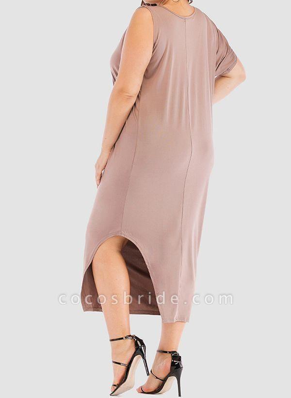 Khaki Plus Size Tunic Solid Round Neckline Casual Elegant Midi Plus Dress
