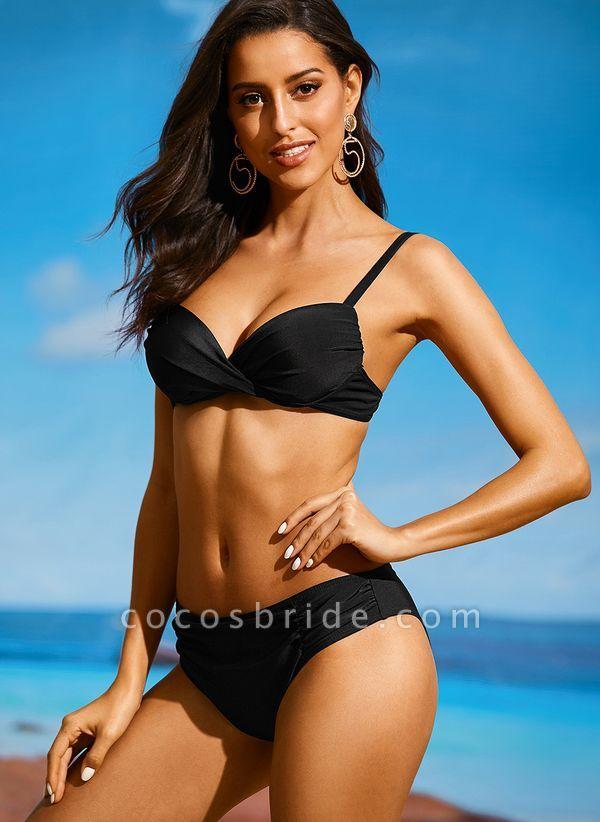 Plus Size Polyester Solid Bikinis Swimwear