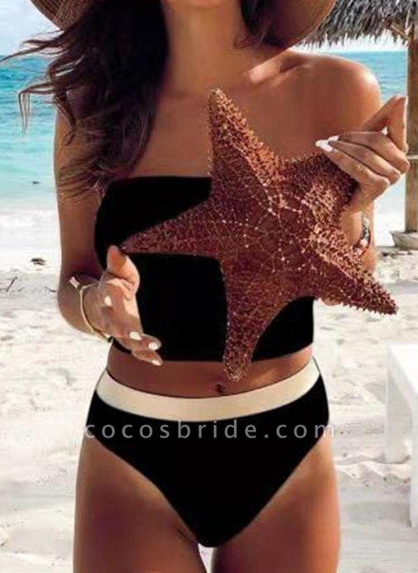 Nylon Polyester Bandeau Color Block Bikinis Swimwear