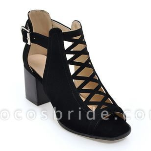 Women's Buckle Hollow-out Chunky Heel Sandals