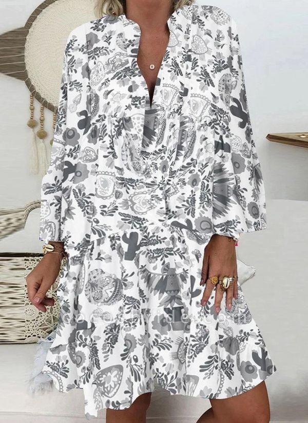 White Plus Size Tunic Floral V-Neckline Casual Above Knee Plus Dress